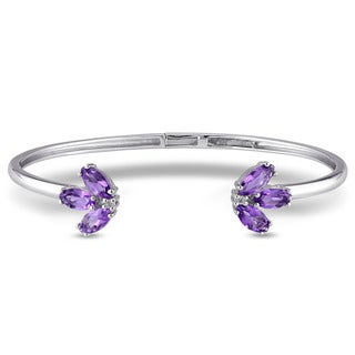 Miadora Sterling Silver Amethyst and White Topaz Cuff Bangle Bracelet