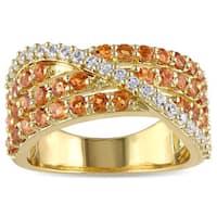Miadora Yellow Silver Citrine and Created White Sapphire Ring
