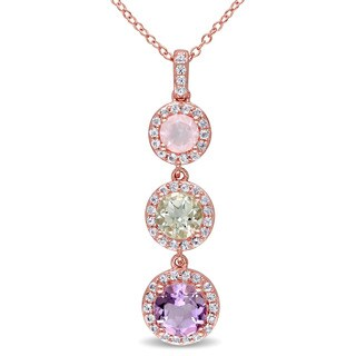 Miadora Rose Plated Silver Multi-gemstone Necklace