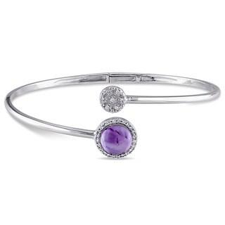 Miadora Sterling Silver Multi-gemstone and Diamond Accent Bangle Bracelet