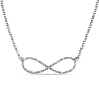 Miadora Sterling Silver 1/10ct TDW Diamond Infinity Necklace