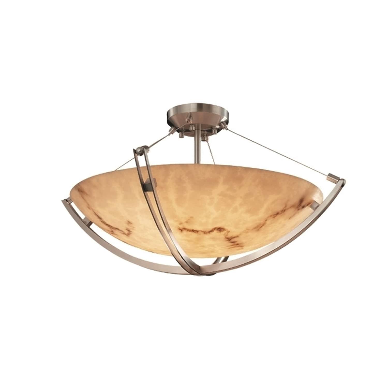 Justice Design Lumenaria Crossbar 6 Light Brushed Nickel Round Bowl Semi Flush Faux Alabaster Shade Overstock 10469264