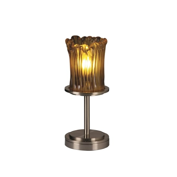 Justice Design Group Veneto Luce Dakota 1-light Brushed Nickel Table Lamp, Amber Cylinder - Rippled Rim Shade