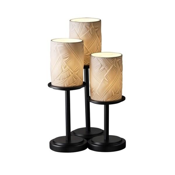 Justice Design Group Limoges Dakota 3-light Matte Black Table Lamp, Banana Leaf Cylinder - Flat Rim Shade
