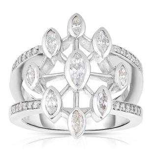Eloquence Platinum 1ct TDW Diamond Composite Ring (J-K, SI1-SI2)