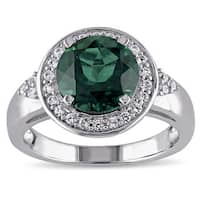 Miadora Sterling Silver Created Emerald and Created White Sapphire Ring - Green