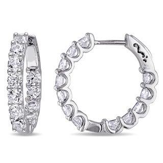 Miadora Sterling Silver Created White Sapphire Hoop Earrings