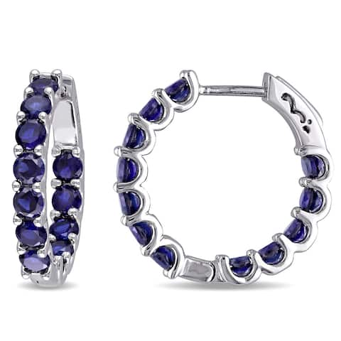 Miadora Sterling Silver Created Blue Sapphire Hoop Earrings