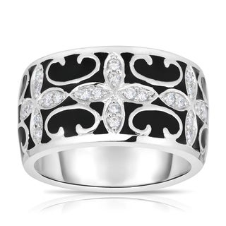 Eloquence 14k White Gold and Black Ceramic 1/5ct TDW Diamond Ring (H-I, I1-I2)