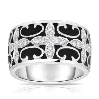 Eloquence 14k White Gold and Black Ceramic 1/5ct TDW Diamond Ring (2 options available)