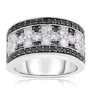 Eloquence 14k White Gold 2 1/2ct TDW White and Black Diamond Ring (Black)