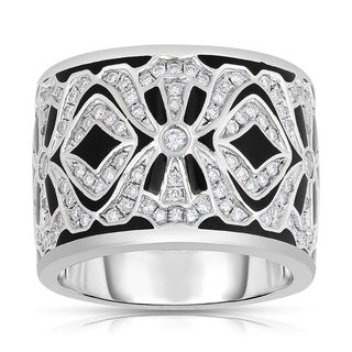 Eloquence 14k White Gold and Black Ceramic 3/4ct TDW Diamond Ring (H-I, I1-I2)