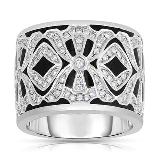 Eloquence 14k White Gold and Black Ceramic 3/4ct TDW Diamond Ring (H-I, I1-I2)