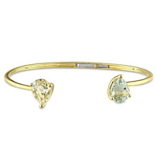 Miadora Yellow Silver Lemon Quartz and Green Amethyst Bangle Bracelet