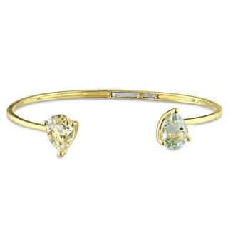 Miadora Yellow Silver Lemon Quartz and Green Amethyst Bangle Bracelet