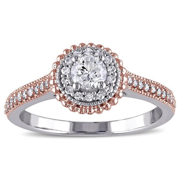 Miadora Signature Collection 10k White Gold 1/2ct TDW Diamond Halo Ring