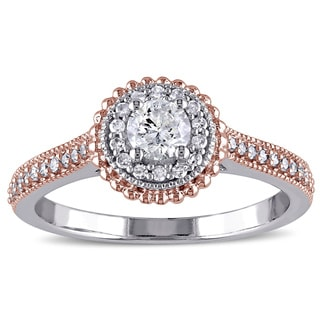 Miadora Signature Collection 10k White Gold 1/2ct TDW Diamond Halo Ring
