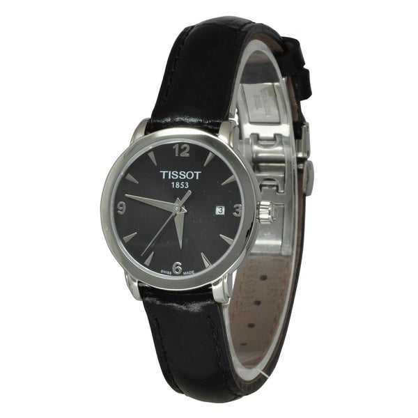 Tissot Women's T0572101605700 'T-Everytime' Black Leather Watch. Opens flyout.