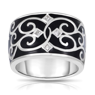 MWI Eloquence 14k White Gold and Black Ceramic 1/10ct TDW Diamond Ring (H-I, I1-I2)