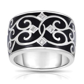 MWI Eloquence 14k White Gold and Black Ceramic 1/10ct TDW Diamond Ring (H-I, I1-I2)