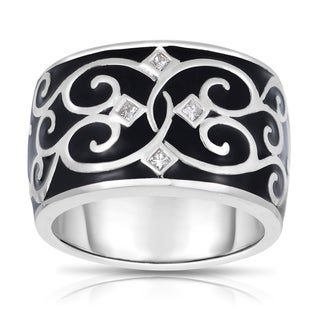 MWI Eloquence 14k White Gold and Black Ceramic 1/10ct TDW Diamond Ring