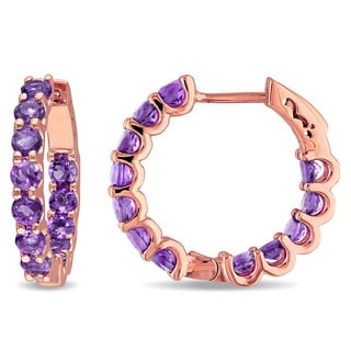 Miadora Rose Plated Silver Amethyst Hoop Earrings