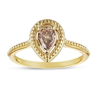 Eloquence 14k Yellow Gold, 1/2ct TDW Stackable Natural Champagne Diamond Ring (Brown, I1-I2)