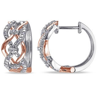 Miadora Two-Tone Silver 1/10ct TDW Diamond Hoop Earrings (G-H, I2-I3)