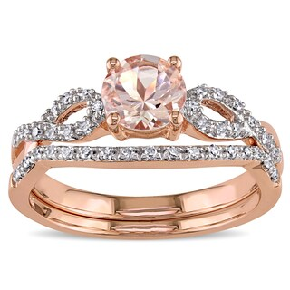 Miadora Signature Collection 10k Rose Gold Morganite and 1/6ct TDW Diamond Bridal Ring Set (More options available)