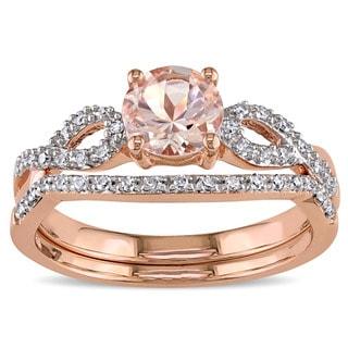 Miadora Signature Collection 10k Rose Gold Morganite and 1/6ct TDW Diamond Bridal Ring Set