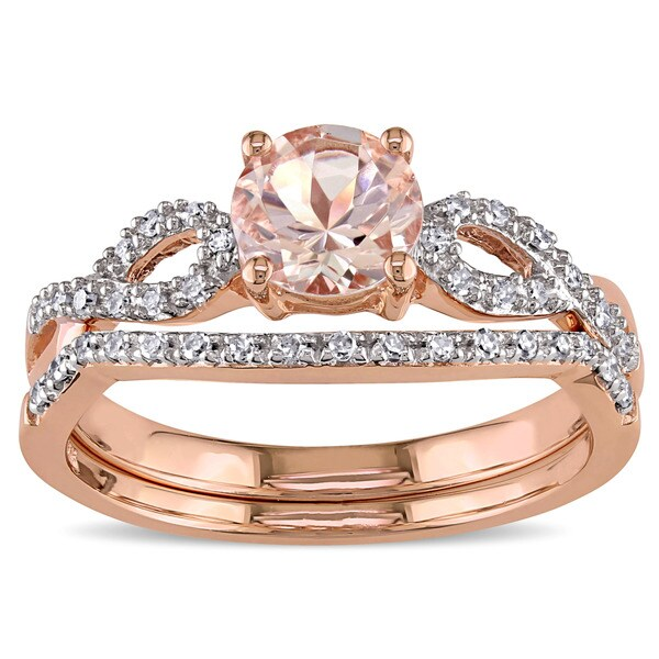 Miadora Signature Collection 10k Rose Gold Morganite and 16ct TDW