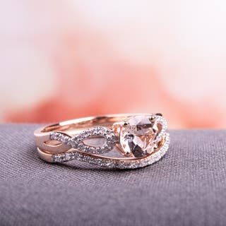 miadora signature collection 10k rose gold morganite and 16ct tdw diamond bridal ring set - Diamond Wedding Ring Sets