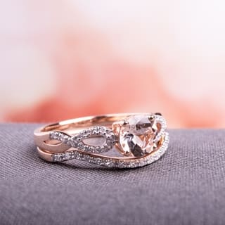 miadora signature collection 10k rose gold morganite and 16ct tdw diamond bridal ring set - Rose Gold Wedding Ring Sets