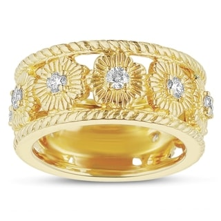 Eloquencec 14k Yellow Gold 1/2ct TDW Diamond Floral Motif Ring (H-I, I1-I2)