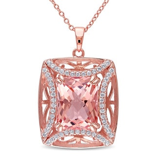 Miadora Rose Plated Silver Morganite and Cubic Zirconia Necklace