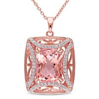 Miadora Rose-Plated Silver Rose Glass and Cubic Zirconia Necklace