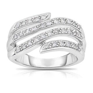 Eloquence 14k White Gold, 1/3ct TDW Diamond Multi-Row Ring