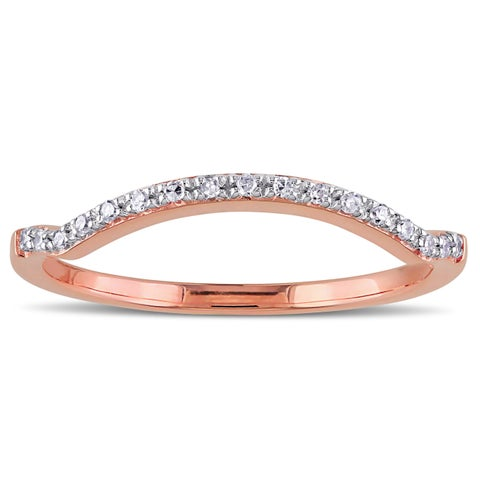 Miadora 10k Rose Gold Diamond Accent Curved Stackable Wedding Band Ring - White