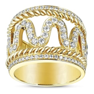 Eloquence 14k Yellow Gold 1ct TDW Diamond Woven Motif Ring (H-I, SI1-SI2)
