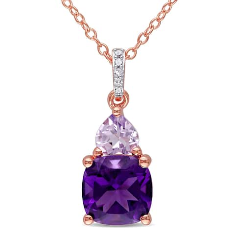 Miadora Rose Plated Silver Multi-gemstone and Diamond Accent Necklace