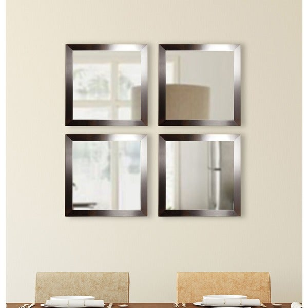 American Made Rayne Silver Petite Square Wall Mirror Set
