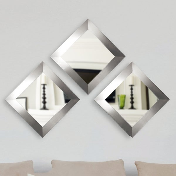 American Made Rayne Silver Wide Square Wall Mirror Set