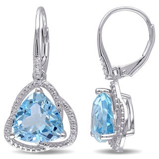 Miadora Sterling Silver Blue Topaz and Diamond Accent Dangle Earrings