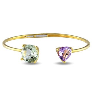 Miadora Yellow Plated Silver Green Amethyst and Rose de France Bangle