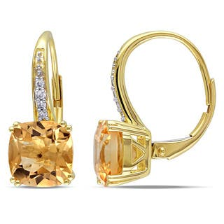 Miadora 10k Yellow Gold Citrine and Diamond Accent Dangle Earrings|https://ak1.ostkcdn.com/images/products/10469359/P17559848.jpg?impolicy=medium