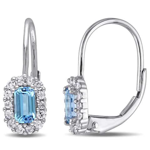 Miadora 10k White Gold Blue Topaz and White Sapphire Leverback Earrings