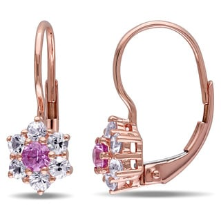 Miadora 10k Rose Gold Pink and White Sapphire Earrings