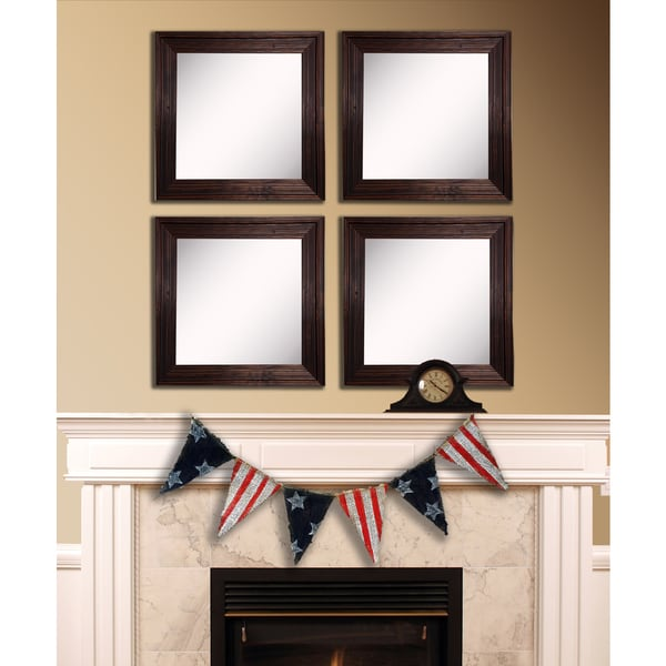 American Made Rayne Barnwood Brown Square Wall Mirror Set