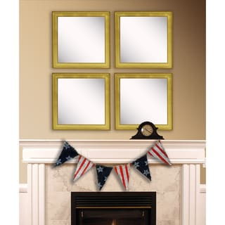 American Made Rayne Vintage Gold Square Wall Mirror Set