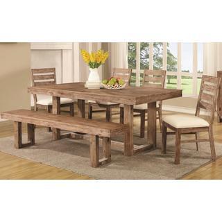 Madison Open Base Distressed Acacia Wood Dining Set